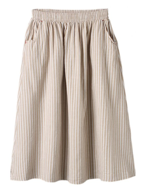 buy Stripe Elastic Waist A-Line Skirt - KHAKI ONE SIZE(FIT SIZE XS TO M)