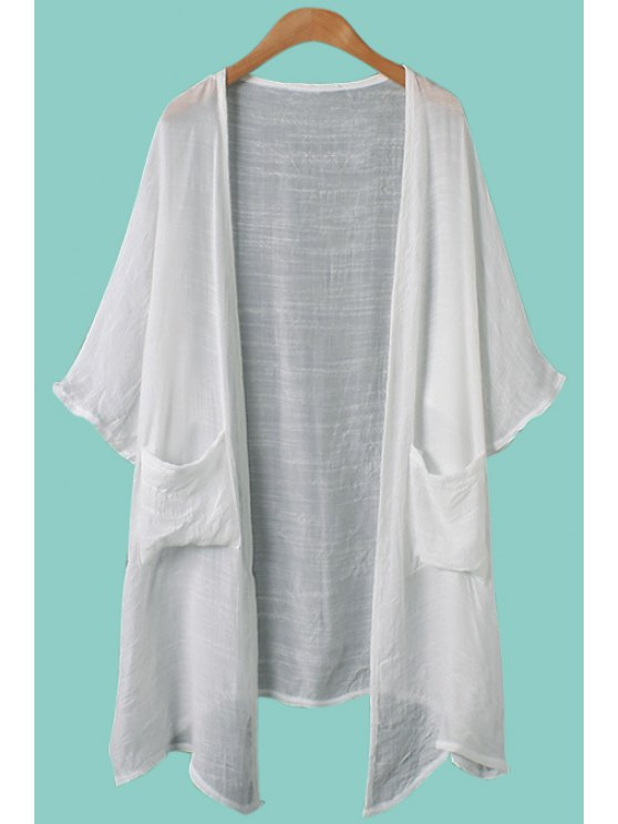 best Solid Color Pocket Half Sleeve Blouse - WHITE ONE SIZE(FIT SIZE XS TO M)