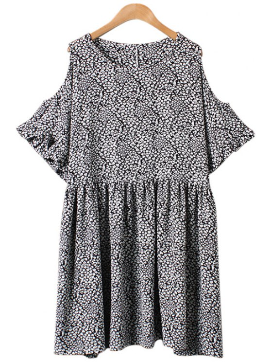 unique Leaves Print Off-The-Shoulder Flounce Dress - AS THE PICTURE ONE SIZE(FIT SIZE XS TO M)