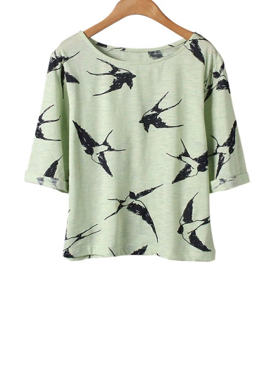 outfits Swallow Print Half Sleeve T-Shirt - GREEN ONE SIZE(FIT SIZE XS TO M)
