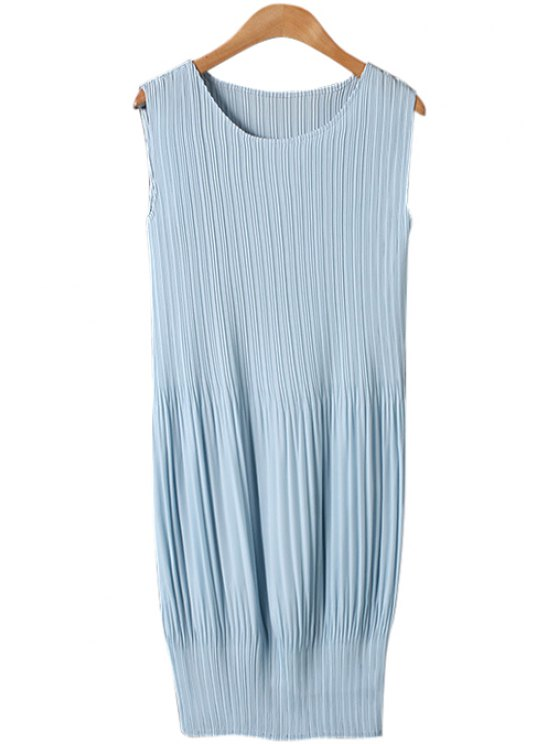 womens Jewel Neck Solid Color Pleated Dress - LIGHT BLUE ONE SIZE(FIT SIZE XS TO M)
