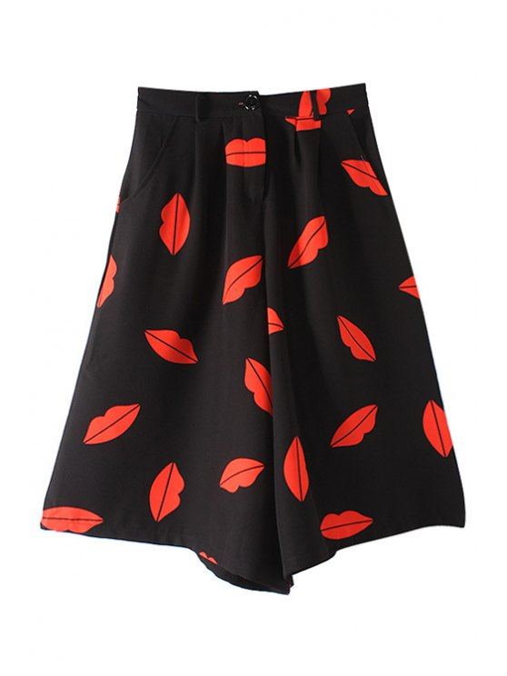 trendy Red Lip Print Capri Pants - AS THE PICTURE S