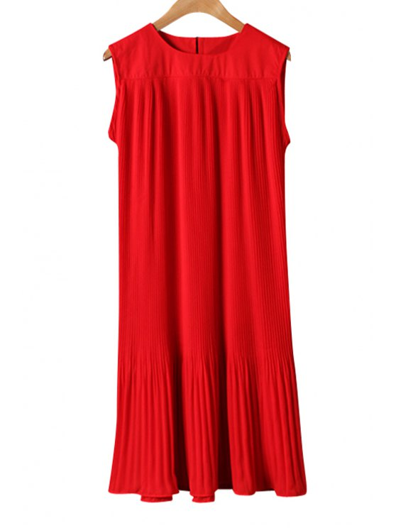 ladies Jewel Neck Solid Color Ruffle Dress - RED ONE SIZE(FIT SIZE XS TO M)