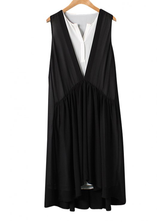 best Black White Splicing Asymmetrical Sleeveless Dress - AS THE PICTURE M