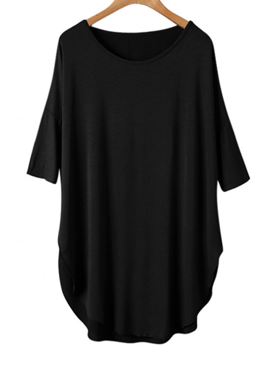 fancy Solid Color Splicing Asymmetrical Half Sleeve T-Shirt - BLACK ONE SIZE(FIT SIZE XS TO M)