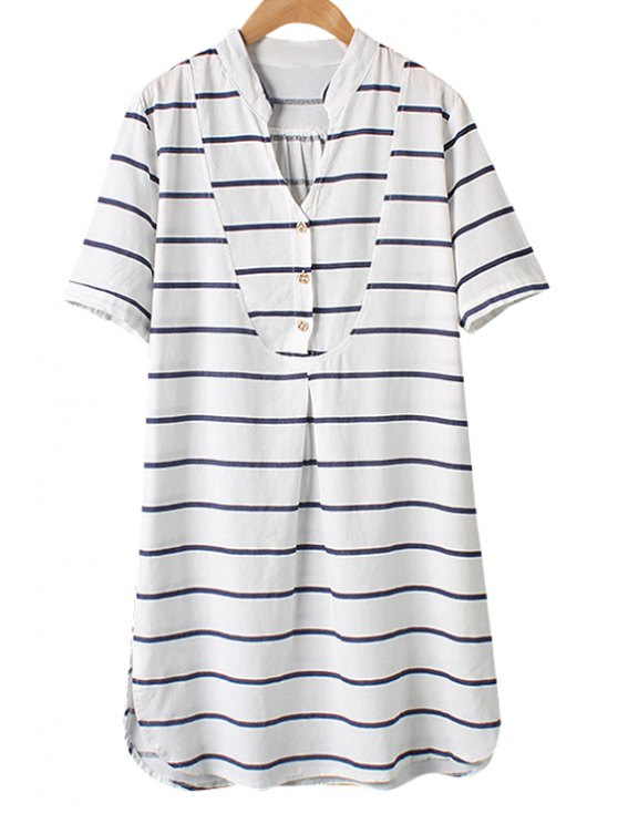 outfits Stripe Side Slit Short Sleeve Dress - AS THE PICTURE M