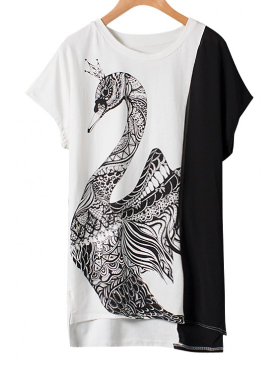 buy Swan Print Color Block High Low T-Shirt - AS THE PICTURE M