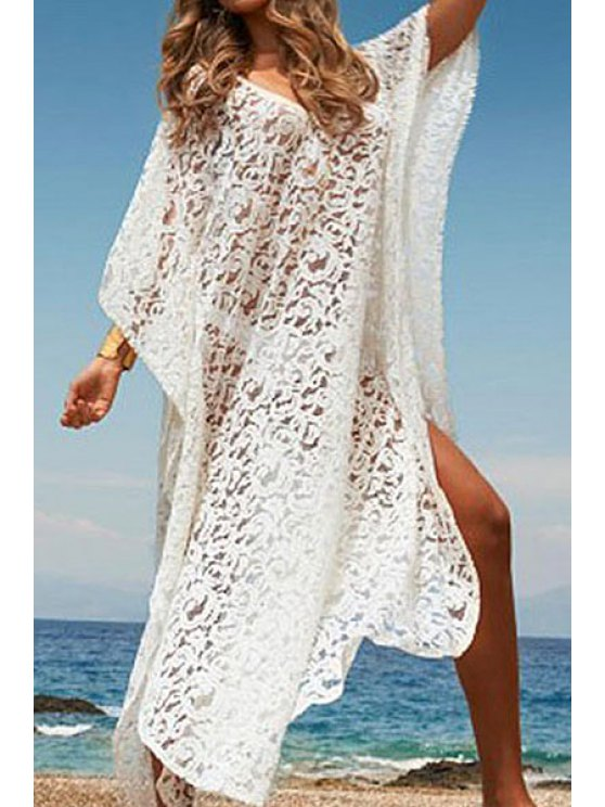 unique White Lace Bat-Wing Sleeve Maxi Dress - WHITE ONE SIZE(FIT SIZE XS TO M)