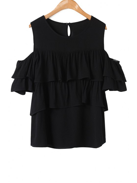 women Solid Color Flounce Splicing Off-The-Shoulder T-Shirt - BLACK ONE SIZE(FIT SIZE XS TO M)