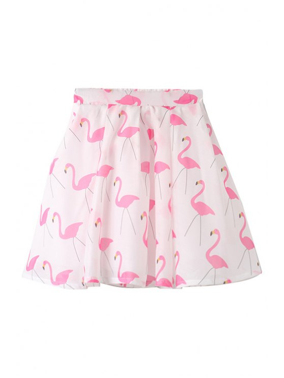 outfit Flamingo Print Zipper Fly Skirt - PINK M