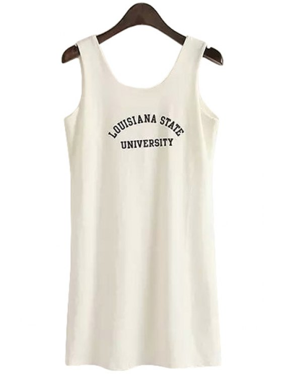 sale Letter Print Sleeveless Tank Top - WHITE M