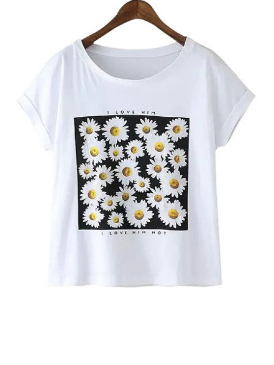 online Daisy Print Short Sleeve T-Shirt - WHITE ONE SIZE(FIT SIZE XS TO M)