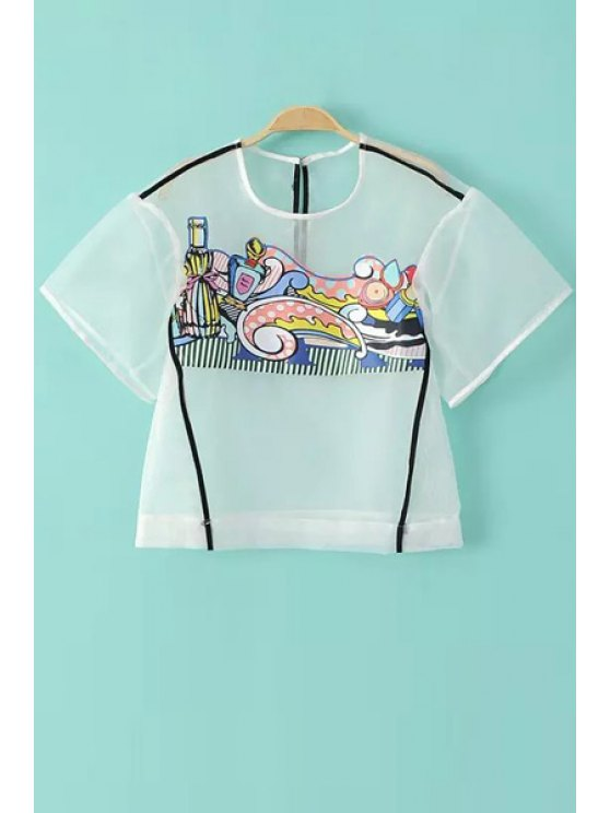 new Print Mesh See-Through Short Sleeve T-Shirt - TRANSPARENT S