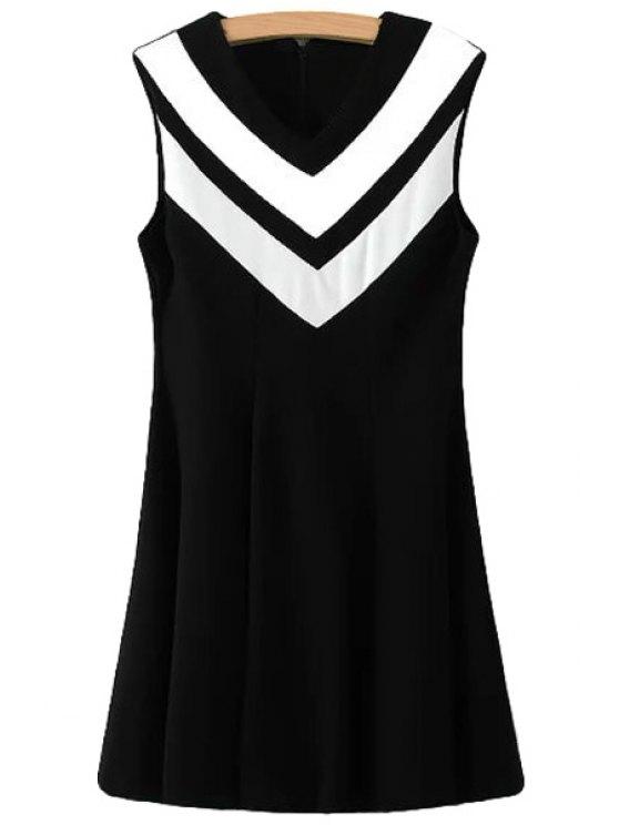fashion Color Block White Stripe Sleeveless Dress - BLACK M
