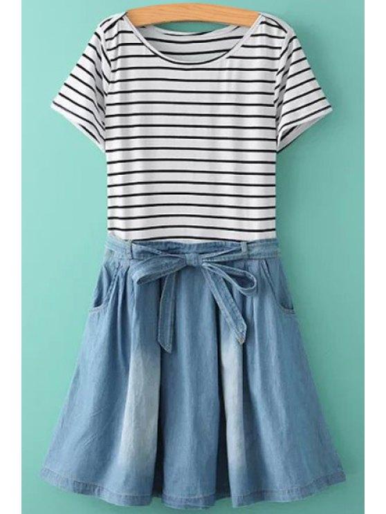lady Stripe Denim Splicing Ruffle Short Sleeve Dress - BLUE AND WHITE S