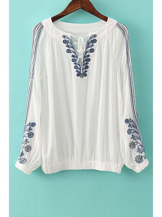 outfit Flower Embroidery Long Sleeve Blouse - WHITE L