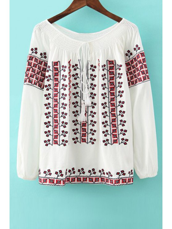 shop Embroidery Lace-Up Long Sleeve Blouse - WHITE S