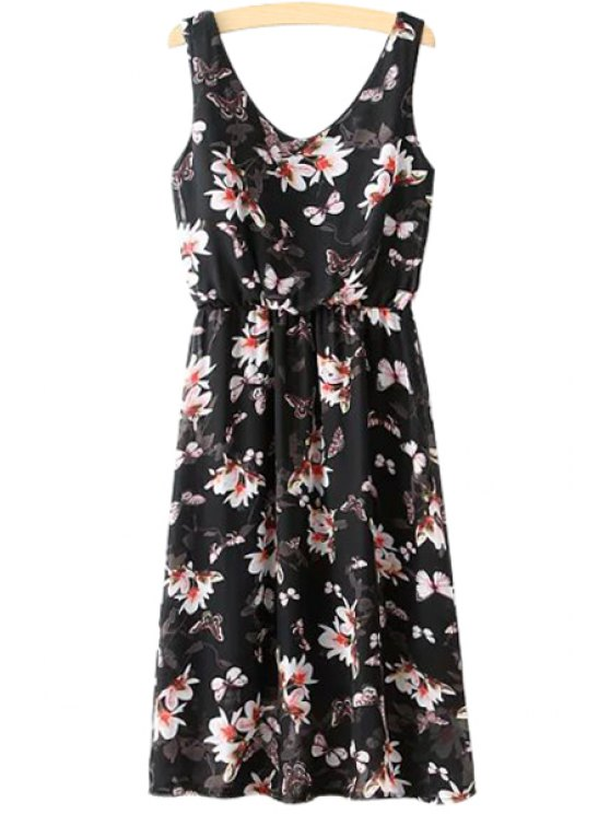 new Butterfly Floral Print Sleeveless Dress - BLACK S
