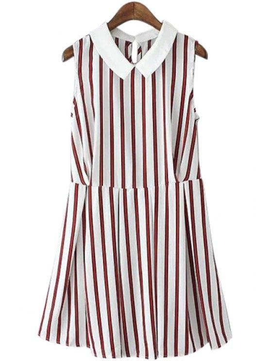 hot Turn-Down Collar Stripe Sleeveless Dress - WHITE S