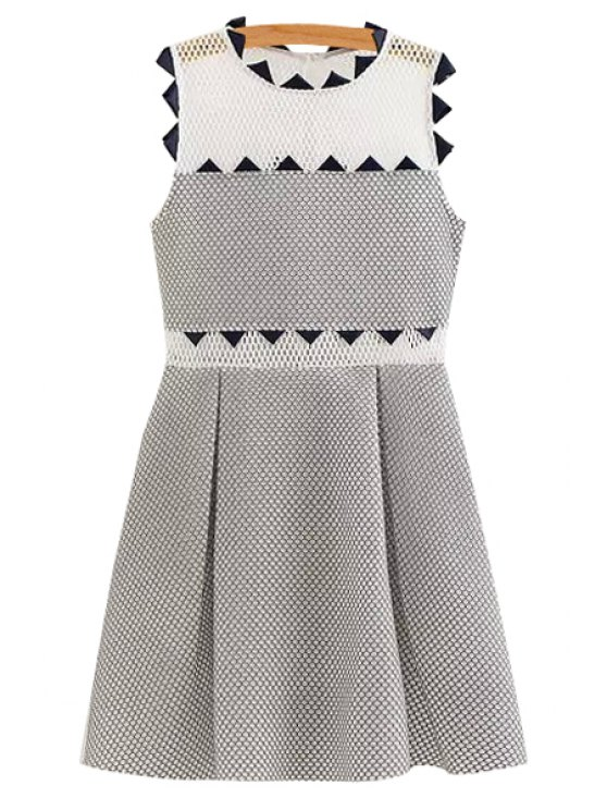 shop A-Line Mesh Spliced Sundress - GREY AND WHITE S