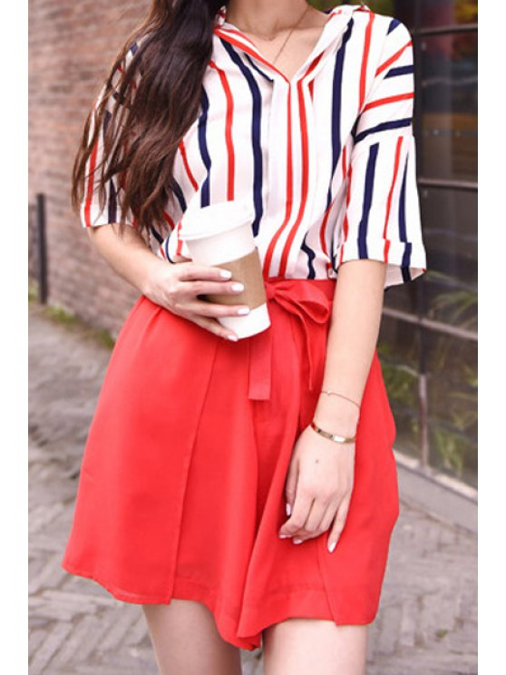 outfits Turn-Down Collar Stripe Shirt + Solid Color Tie-Up Shorts - RED ONE SIZE(FIT SIZE XS TO M)
