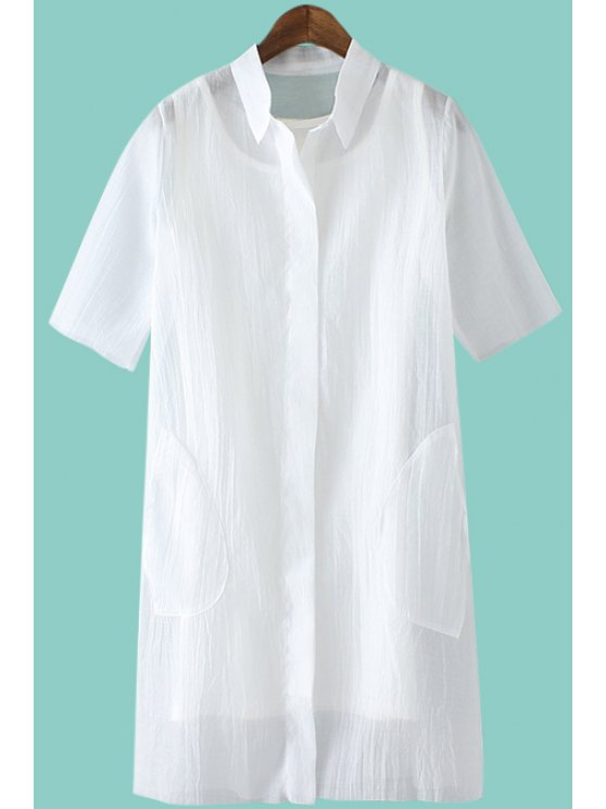 shops Solid Color Short Sleeve Shirt + Tank Top - WHITE S
