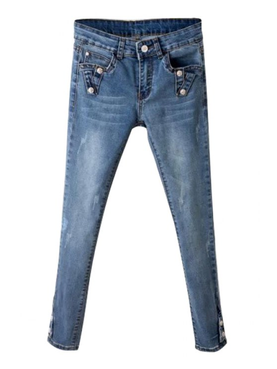 shop Narrow Feet Solid Color Skinny Jeans - BLUE 26
