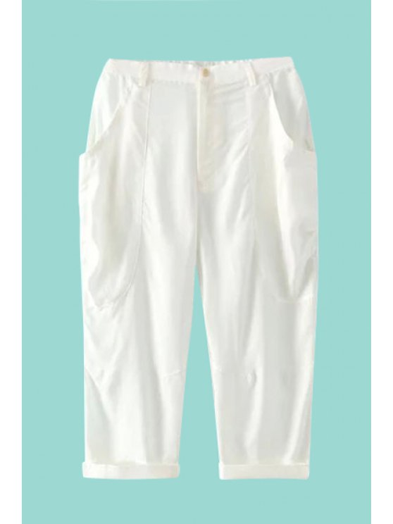 shops Straight Leg Solid Color Capri Pants - WHITE ONE SIZE(FIT SIZE XS TO M)
