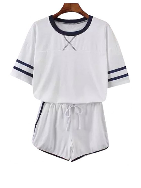 women T-Shirt and Elastic Waist Drawstring Shorts Suit - WHITE ONE SIZE(FIT SIZE XS TO M)