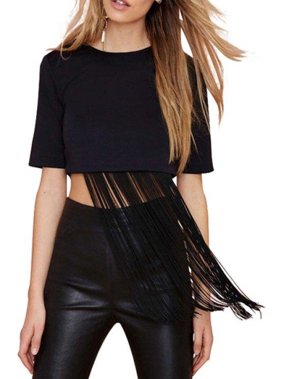 online Solid Color Back Zipper Fringe Short Sleeve Crop Top - BLACK S