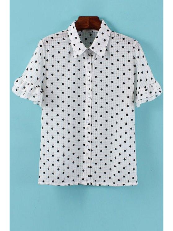fashion Polka Dot Flounce Short Sleeve Shirt - WHITE ONE SIZE(FIT SIZE XS TO M)