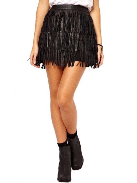 lady Fashion Tassel Fringe PU Skirt - BLACK S