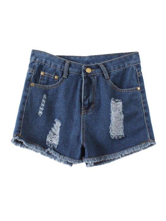 shop Destroy Wash Denim Shorts - BLUE S