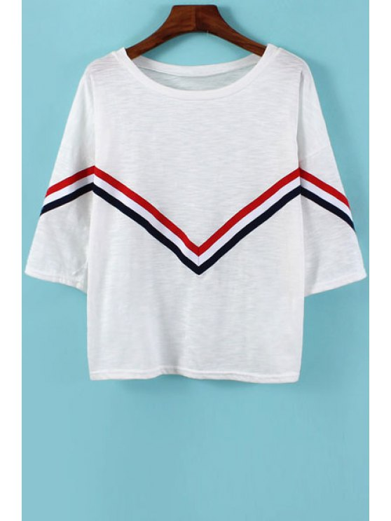hot Red Black Stripe T-Shirt - WHITE ONE SIZE(FIT SIZE XS TO M)