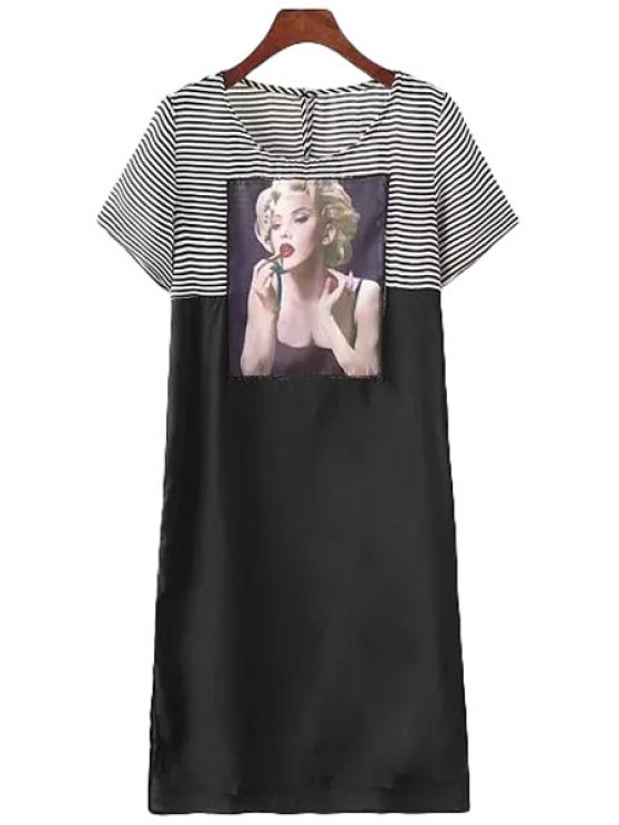 shops Stripe Figure Splicing Short Sleeve Dress - WHITE AND BLACK S