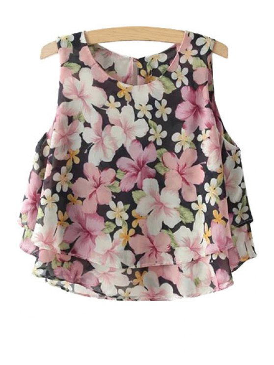 affordable Jewel Neck Floral Print Sleeveless Tank Top - PINK S