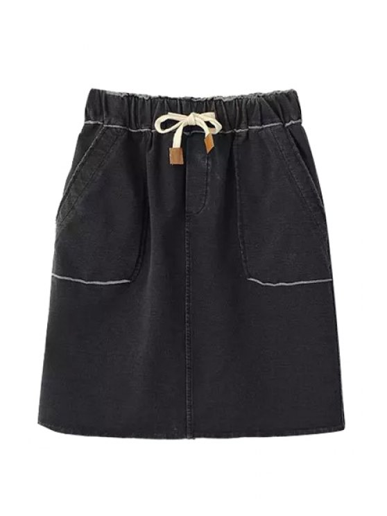 online Denim Elastic Waist Drawstring Skirt - BLACK ONE SIZE(FIT SIZE XS TO M)