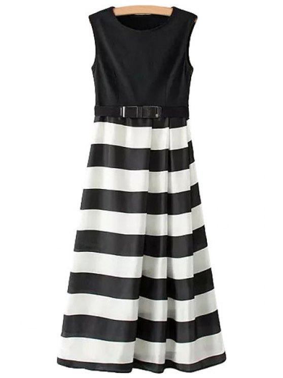 unique Color Block Stripe Belt Sleeveless Dress - WHITE AND BLACK S