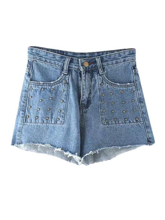 unique Bleach Wash Rivet Embellished Denim Shorts - DEEP BLUE S