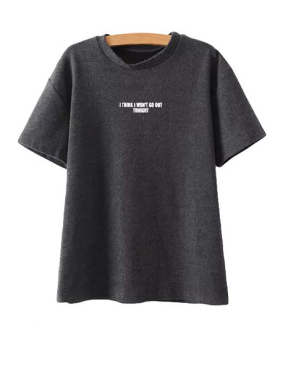 fancy Jewel Neck Short Sleeve Letter Print T-Shirt - BLACK ONE SIZE(FIT SIZE XS TO M)
