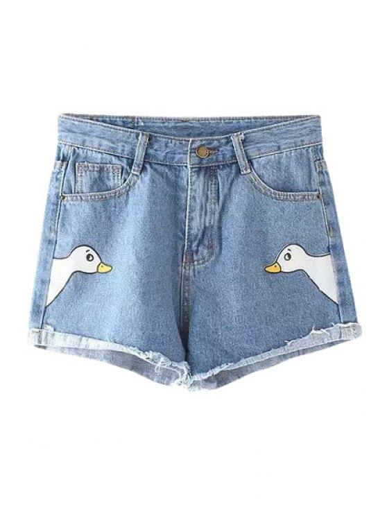 outfit Swan Print Bleach Wash Denim Shorts - BLUE S