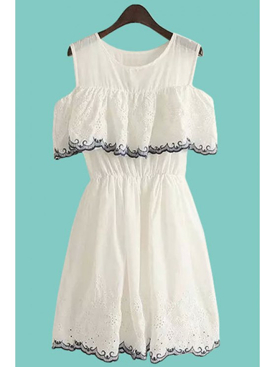ladies Flounce Splicing Embroidery Edging Openwork Dress - WHITE ONE SIZE(FIT SIZE XS TO M)