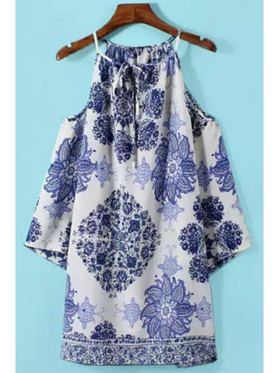 lady Blue Floral Print Off-The-Shoulder Dress - BLUE S