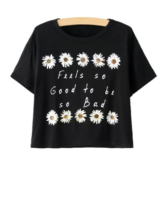 women Letter and Flower Print Short Sleeve T-Shirt - BLACK ONE SIZE(FIT SIZE XS TO M)
