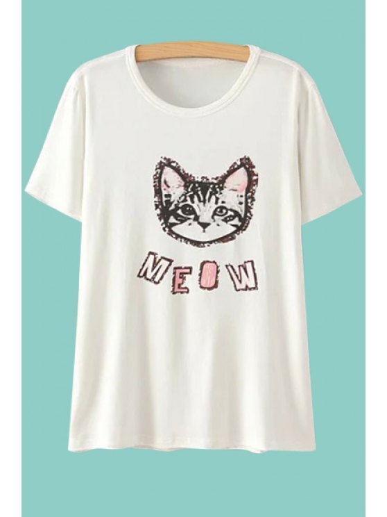 lady Short Sleeves Cat Print T-Shirt - WHITE ONE SIZE(FIT SIZE XS TO M)