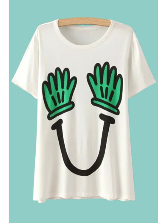 online Hand Print Short Sleeves T-Shirt - WHITE ONE SIZE(FIT SIZE XS TO M)