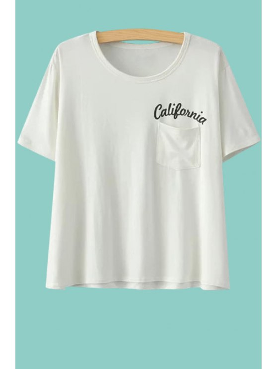 outfit Letter Print Short Sleeve Pocket T-Shirt - WHITE ONE SIZE(FIT SIZE XS TO M)