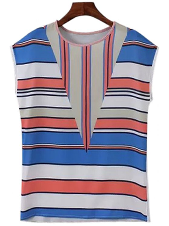 women's Blue Stripe Spliced Sleeveless T-Shirt - BLUE S