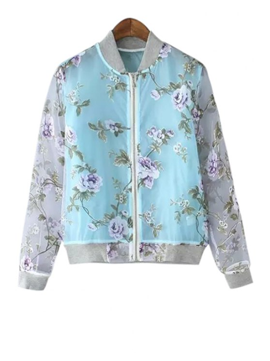 buy Long Sleeve Floral Pattern Jacket - BLUE M