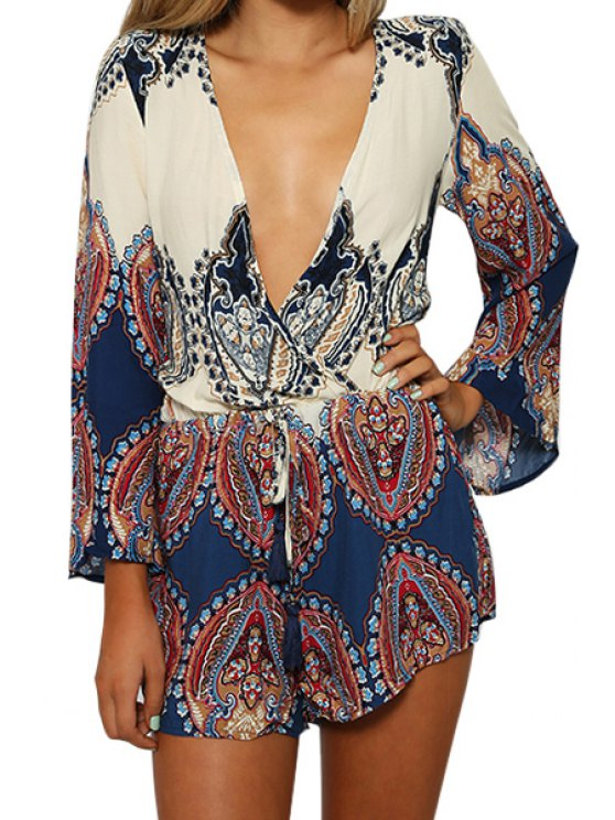 outfit Color Block Print Tie-Up Long Sleeve Romper - COLORMIX XL